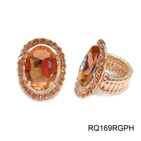 ROSE GOLD STRETCH RING WITH PEACH STONES ( 169 )