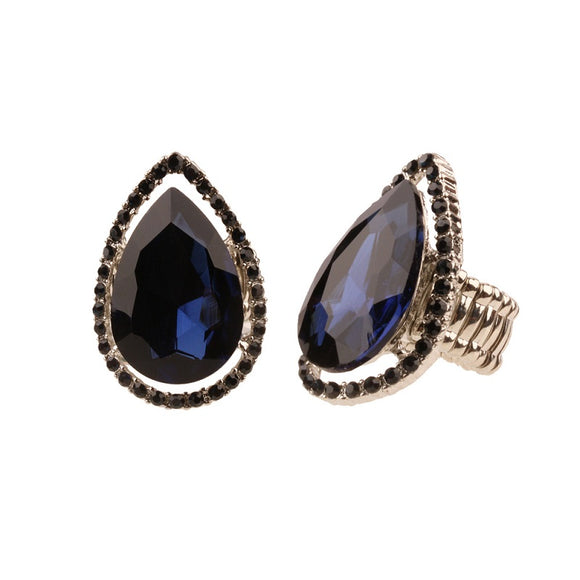 NAVY BLUE TEARDROP STRETCH RING IN SILVER SETTING ( RQ22 )