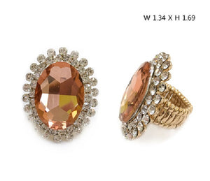 Large Oval Peach Stone and Clear Rhinestone Stretch Ring