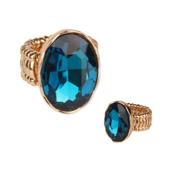 GOLD STRETCH RING LARGE TEAL BLUE STONE ( 59 )