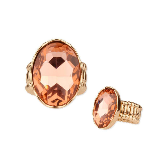 GOLD STRETCH RING LARGE PEACH STONE ( 59 )