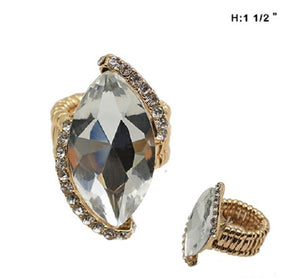 Clear Marquise Stretch Ring with Gold Accents