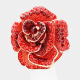 "2"" Red Rhinestone Rose Flower Stretch Gold Ring ( 71 GRED )"