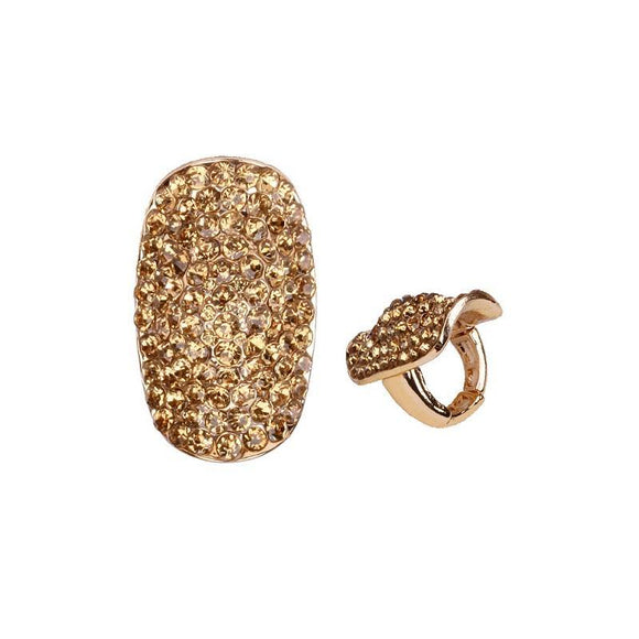 Gold Stretch Ring with Topaz Rhinestones ( 157 )
