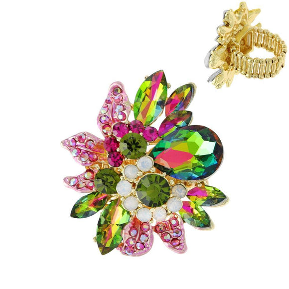 GOLD GREEN AB PINK  FLOWER STRETCH RING ( 11212 GRB ) - Ohmyjewelry.com