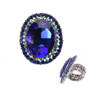 Silver Royal Blue Oval Pave Stone Stretch Ring ( 8067 )