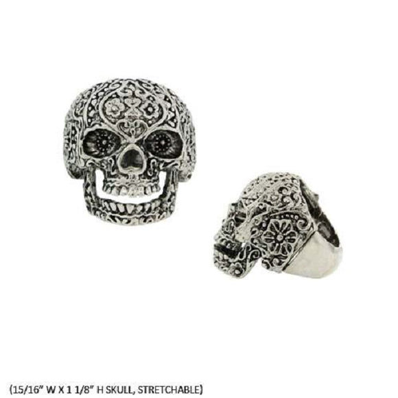 Silver Sugar Skull Stretch Ring