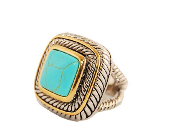 Two Tone Square Turquoise Ring ( 1776 )