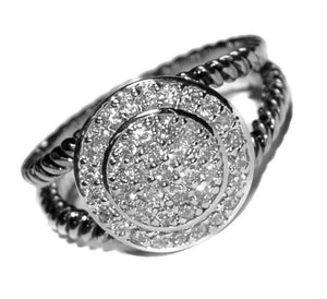 Round Silver CZ Cubic Zirconia Rope Band Ring ( 2406 )