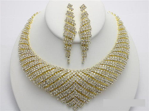Gold with Clear Rhinestone V Shape Rhinestone Necklace Set