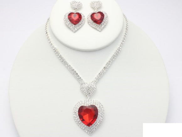 SILVER NECKLACE SET WITH HEART DESIGN RED CLEAR STONES ( 18958 )