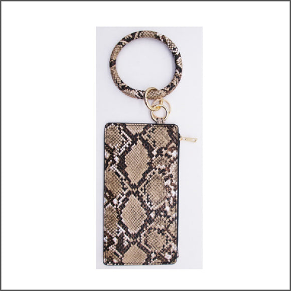 BROWN LEATHER SNAKESKIN KEY CHAIN BRACELET POUCH BAG ( 16 )