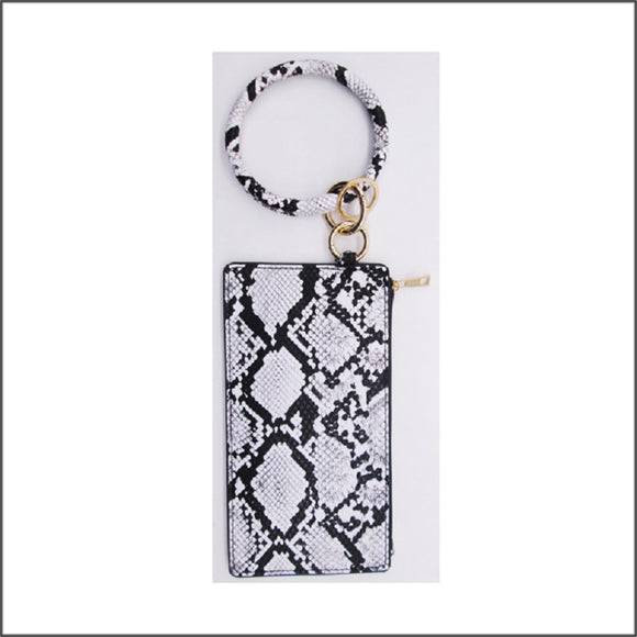 BLACK WHITE LEATHER SNAKESKIN KEY CHAIN BRACELET POUCH BAG ( 17 )