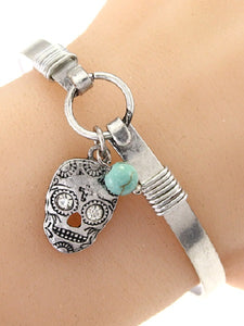 Silver Bangle with Sugar Skull Charm
