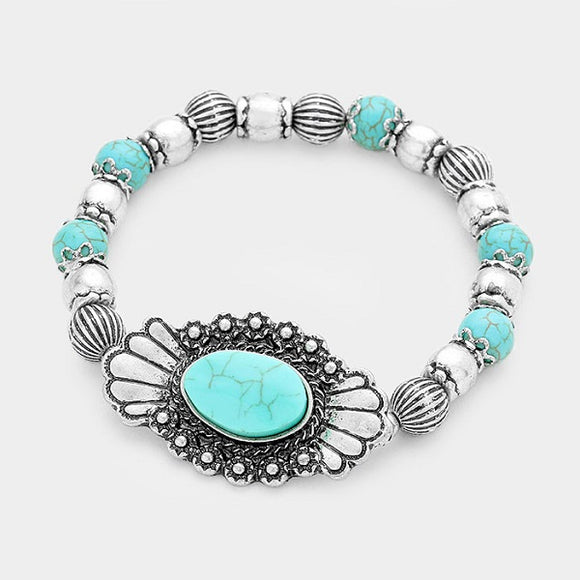 Burnish Silver and Turquoise Beaded Stretch Bracelet with Squash Blossom Design