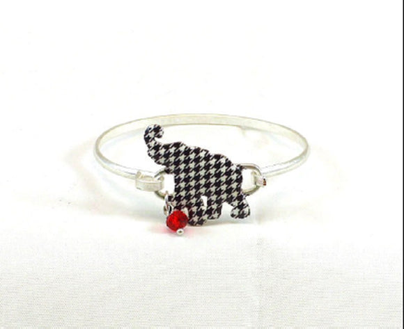 Worn Silver Bangle with Houndstooth Elephant Charm ( 0710 )