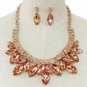 Peach Marquise Rhinestone Necklace Set in Gold Setting ( 0008 )