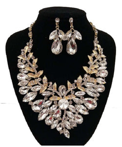 Clear Stone Formal Rhinestone Necklace Set with Gold Setting and Matching Earrings ( 0040 )