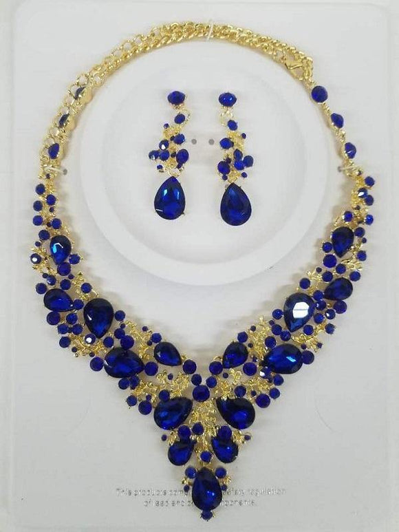 Royal Blue Rhinestone with Gold Formal Necklace Set ( 0041 2S )