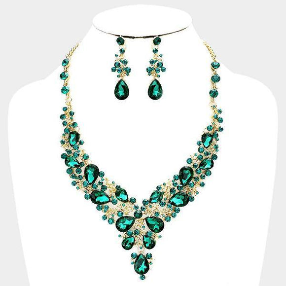 Emerald Green Rhinestone with Gold Formal Necklace Set ( 0041 2G )