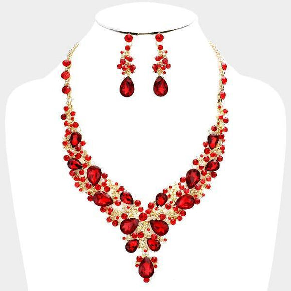 Red Rhinestone with Gold Formal Necklace Set ( 0041 2R )