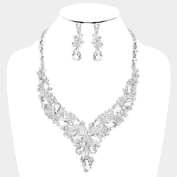 Clear Rhinestone with Silver Formal Necklace Set ( 0041 3C )