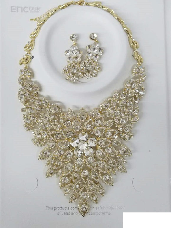 CLEAR Rhinestone Evening Necklace Set with Flower Pattern in GOLD Setting ( 0045 )