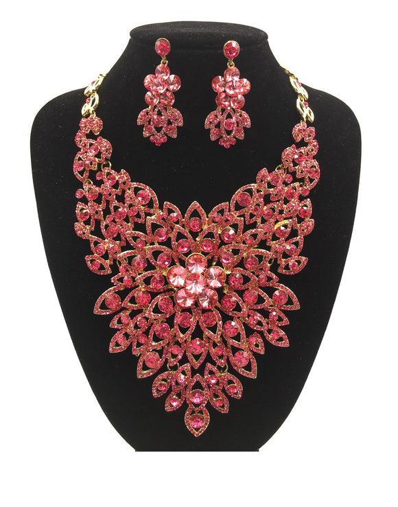 PINK Rhinestone Evening Necklace Set with Flower Pattern in Gold Setting ( 0045 )