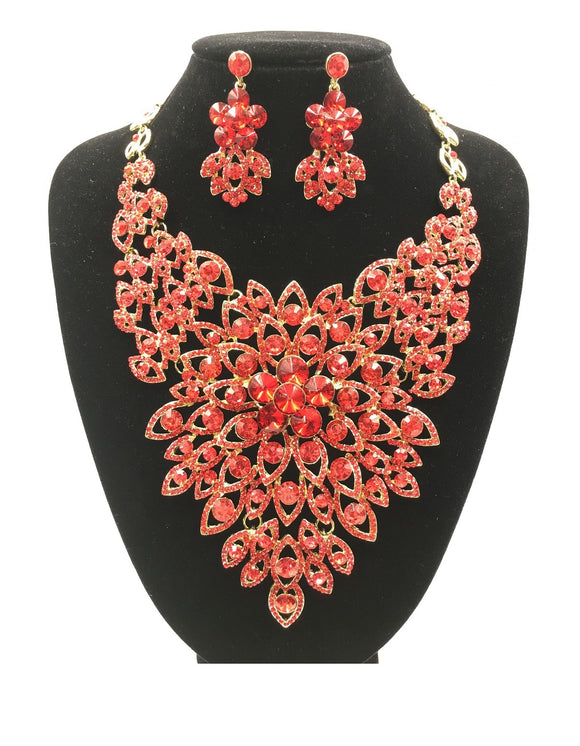 RED Rhinestone Evening Necklace Set with Flower Pattern in GOLD Setting ( 0045 )