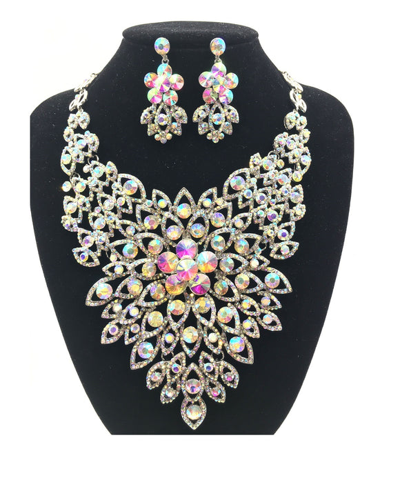 AB Rhinestone Evening Necklace Set with Flower Pattern in SILVER Setting ( 0045 )