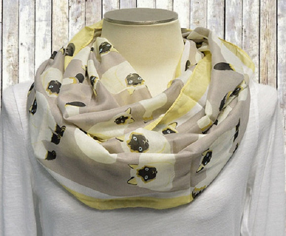 Gray Cat Theme Infinity Scarf