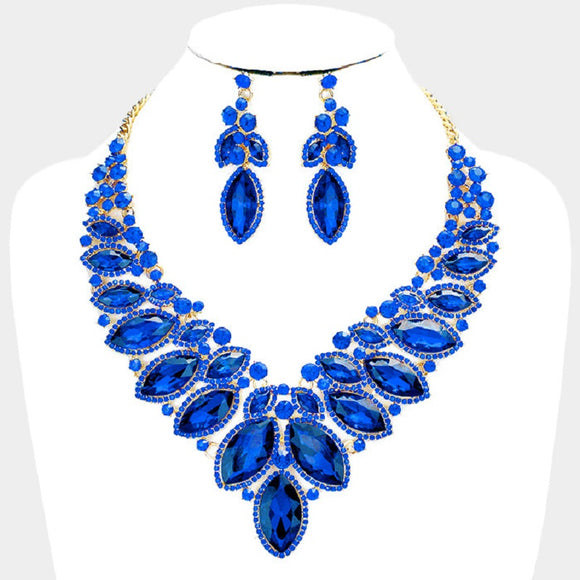 Gold Blue 2 Line Marquise Rhinestone Formal Evening Necklace with Earrings ( 0043 )