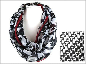 Black and Red Alabama Houndstooth Infinity Scarf