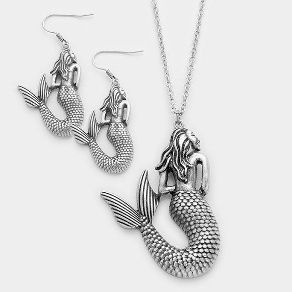 Silver Textured Swimming Mermaid Pendant Necklace with Matching Earrings