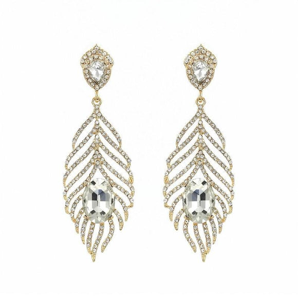 GOLD LEAF EARRINGS CLEAR STONES ( 1030 )