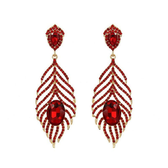 GOLD LEAF EARRINGS RED STONES ( 1030 )