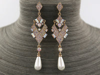 GOLD DANGLING EARRINGS WITH CREAM PEARL AB STONES ( 944 )