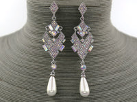 SILVER DANGLING EARRINGS WITH WHITE PEARL AB STONES ( 944 )