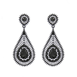 "3"" Jet Black Rhinestone Teardrop Formal Earrings ( 950 )"