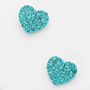 ".6"" Blue Zircon Rhinestone Heart Stud Earrings ( 1784 )"