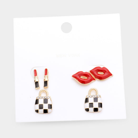 3 PAIR EARRING SET LIPS PURSE LIPSTICK ( 8859 )