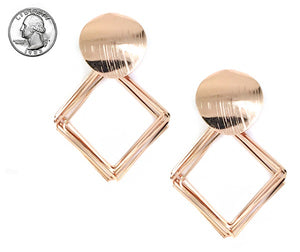 Brush Rose Gold Fashion Square and Round Earrings