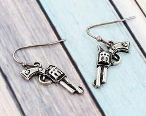 Burnish Silver Dangling Gun Earrings