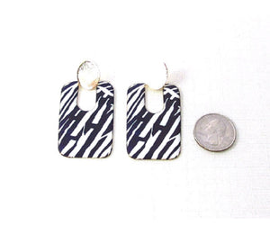 "2.5"" Zebra Print Rectangle Metal Fashion Earrings ( 0532 )"