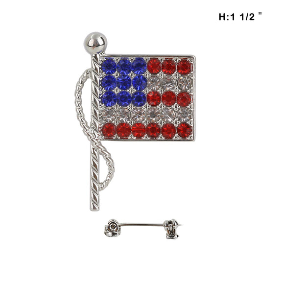 SILVER FLAG BROOCH CLEAR RED BLUE STONES ( 10 )