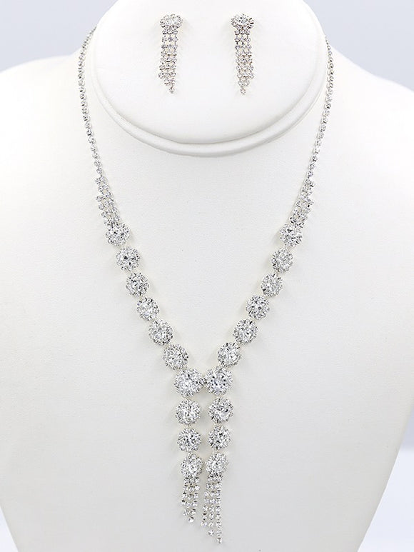 Silver Clear Rhinestone Necklace Set ( 37569 )