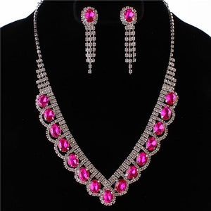 Silver Fuchsia Pink Oval Rhinestone Necklace Set with Clip On Earrings ( 0115 )
