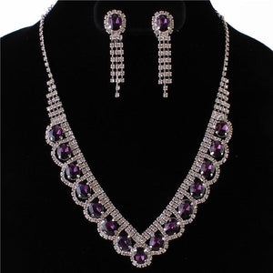 Silver Purple Oval Rhinestone Necklace Set with Clip On Earrings ( 0115 )