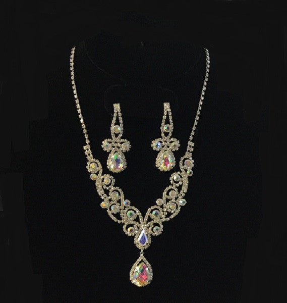 Silver Clear and AB Rhinestone Swirly Design Necklace Set