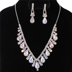 AB Iridescent and Clear Rhinestone Marquise and Round Necklace Set